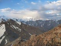 Rocky mountain pass in Kargyzstan Stock Photo