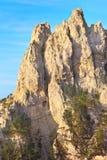 Rocky Mountain Peak med skogen på backen Ai-petri Krim Royaltyfria Bilder