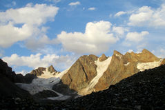 Rocky mountain peaks and glaciers Stock Photos