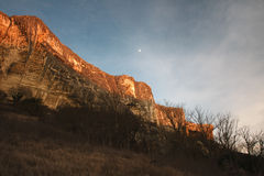 The rocky mountain range of sandstone at sunset in Crimea Stock Photography
