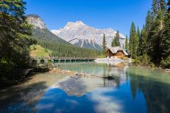 Rocky Mountain Reflection su Emerald Lake Fotografia Stock Libera da Diritti