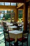 Rocky Mountain restaurant. By glacier lake stock photography