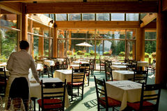 Rocky Mountain restaurant. By glacier lake stock image