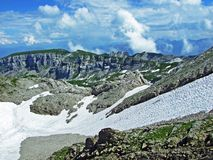 Rocky mountain ridge Roslenfirst and Saxer First in Alpstein mountain range. Canton of Appenzell Innerrhoden, Switzerland royalty free stock images