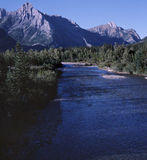 Rocky Mountain River Alberta Canada. Late afternoon sun bathes the Kananaskis area of the Canadian Rocky Mountains. 6x7 drum scan royalty free stock photos