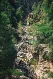 Rocky mountain river surrounded by trees. Splendid view of mountain rivulet streaming down the stones and accompanied by trees on a sunny day somewhere in Turkey Royalty Free Stock Photo