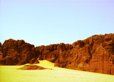Rocky mountain  ,  sahara - tamenrasset,algeria Royalty Free Stock Images