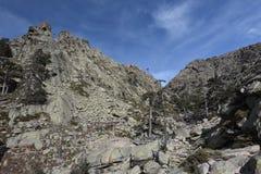 Rocky mountain slope in Corsica Stock Photos