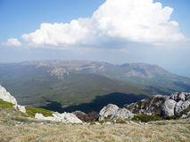 Rocky Mountain, sloping mountain ridge at spring. Crimean mountains.  royalty free stock photos