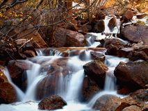 Rocky Mountain Stream. A slow flowing stream running slowly through the rocks framed by Autumn foliage royalty free stock images