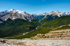 Rocky Mountain summer hiking views. Hiking views of the Canadian Rocky Mountains, Nihahi Ridge Kananaskis Country Alberta Canada Royalty Free Stock Images