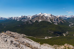 Rocky Mountain summer hiking views. Hiking views of the Canadian Rocky Mountains, Nihahi Ridge Kananaskis Country Alberta Canada Royalty Free Stock Image