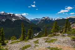 Rocky Mountain summer hiking views. Hiking views of the Canadian Rocky Mountains, Nihahi Ridge Kananaskis Country Alberta Canada Stock Images
