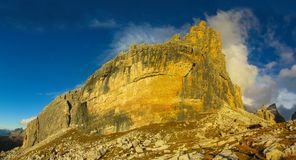 Rocky mountain tower of Dolomite at sunset, Dolomiti di Brenta. Dolomiti di Brenta, Italy, the Dolomites. Beautiful rocky peak mountains Alps at sunset stock images