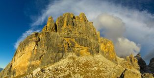 Rocky mountain tower of Dolomites at sunset, Dolomiti di Brenta. Dolomiti di Brenta, Italy, the Dolomites. Beautiful rocky peak mountains Alps at sunset royalty free stock images
