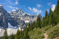Rocky Mountain trail. Magnificent Rocky Mountain scenery with a trail leading into the distance Stock Photo
