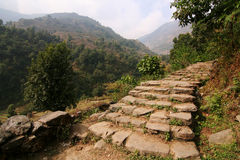 Rocky Mountain Trail Staircase. In Annapurna area Nepal royalty free stock photos