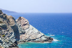 Rocky mountain and transparent sea water on Crete island Stock Image