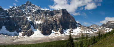 Rocky Mountain view. View on a mountain range in the Rocky Mountains near Moraine Lake (Banff National Park Stock Photos