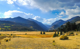Rocky mountain view on September. Grass field at Rocky mountain view on September Royalty Free Stock Images