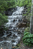 Rocky Mountain waterfalls. Snow melt rushes down a Rocky Mountain waterfall along Going To The Sun Road in Glacier National Park Stock Images