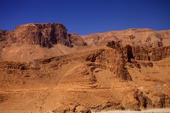 Rocky mountainous desert in the middle of Morocco Stock Images