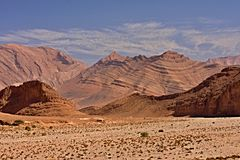 Rocky mountainous desert in the middle of Morocco Royalty Free Stock Photo