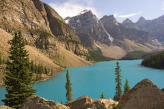 Rocky mountains. Beautiful Moraine lake in Banff royalty free stock photography