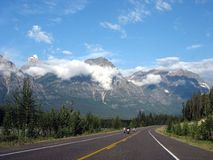 Rocky Mountains. Driving in the Canadian Rockies, along Athabasca River, Columbia Icefield Parkway Stock Photo