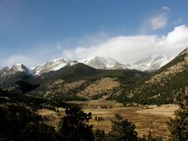 Rocky mountains. Scenic view of snow capped Rocky mountains and national park, North America Stock Photo