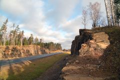 Rocky mountains along the highway A-121 Sortavala in Karelia. Russia. Autumn landscape highway A-121 Sortavala in Karelia. Russia stock photos