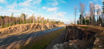 Rocky mountains along the highway A-121 Sortavala in Karelia. Russia. Panorama. Autumn landscape highway A-121 Sortavala in Karelia. Russia stock photo