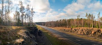 Rocky mountains along the highway A-121 Sortavala in Karelia. Russia. Panorama. Autumn landscape highway A-121 Sortavala in Karelia. Russia royalty free stock images