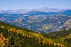 Rocky mountains in Autumn. Aerial view of autumnal forest in Rocky mountains, Colorado, U.S.A Stock Images