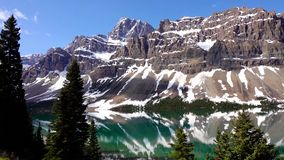 Rocky Mountains, Bow lake in Banff National Park, Canada stock image