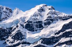 Rocky Mountains, Canada. Close-up of snow and glacier covered mountain peaks of the Rocky Mountains, Canada royalty free stock images