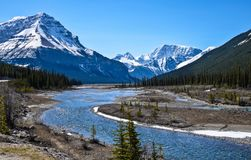 Rocky Mountains, Canada. Scenic view of a river at the Rocky Mountains, Canada stock images