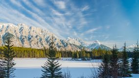 The Rocky Mountains in Canada. Winter land in Canada. Sunny day in winter royalty free stock photo