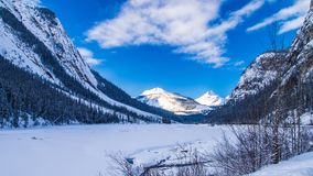 The Rocky Mountains in Canada. Winter land in Canada. Sunny day in winter royalty free stock images