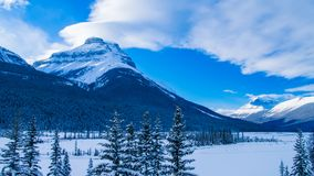The Rocky Mountains in Canada. Winter land in Canada. Sunny day in winter stock photos