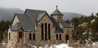 Rocky mountains chapel Royalty Free Stock Photography