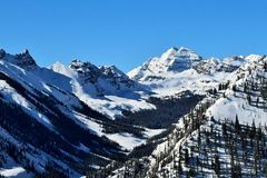 Rocky Mountains on Clear Winter Day Stock Photos