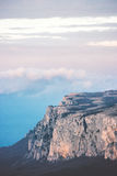 Rocky Mountains cliff and clouds Landscape Stock Image