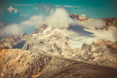 Rocky Mountains with clouds and glacier snow beautiful Landscape Royalty Free Stock Images
