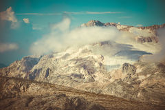 Rocky Mountains with clouds and glacier snow beautiful Landscape Royalty Free Stock Photos