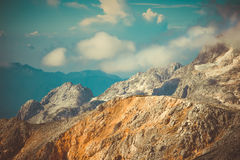 Rocky Mountains with clouds and glacier snow beautiful Landscape Royalty Free Stock Photography