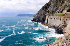 Rocky mountains on the coastline, Italy Stock Images
