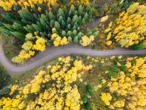 Rocky Mountains fall road. Rocky Mountains drone looking straight down at the road Royalty Free Stock Images