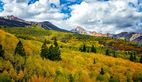 Rocky Mountains in the fall. With aspen Stock Photo