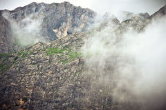 Rocky Mountains foggy landscape moody scenery Royalty Free Stock Photo
